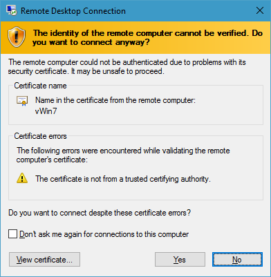 How To: Add Certificate To Windows 7 RDP – ANDREW PENG